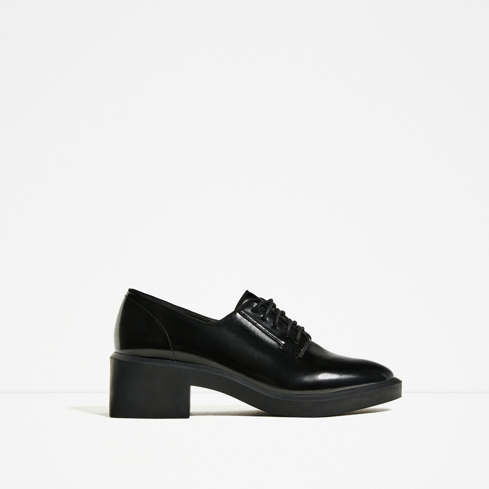 欧美女鞋英伦风粗跟系带学院风小皮鞋女式厚底中跟德比鞋单鞋7296