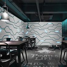网咖墙纸背景墙 3D立体壁画科幻工业风主题酒吧KTV壁画