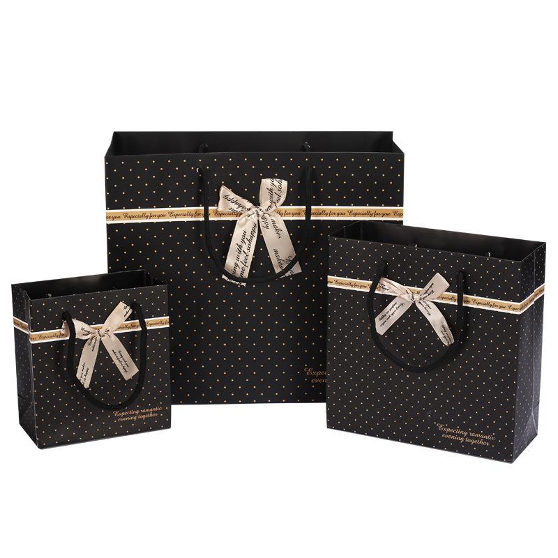 2017韩版 黑色斑点礼品袋 纸袋 手提袋包装袋 礼品袋批发厂家直销