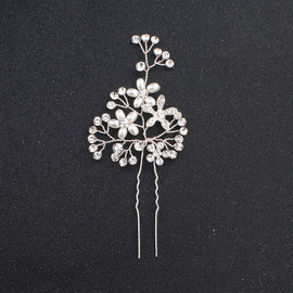 explosions handmade hairpins pearl rhinestone alloy hair accessories headdress European and American style bridal jewelry