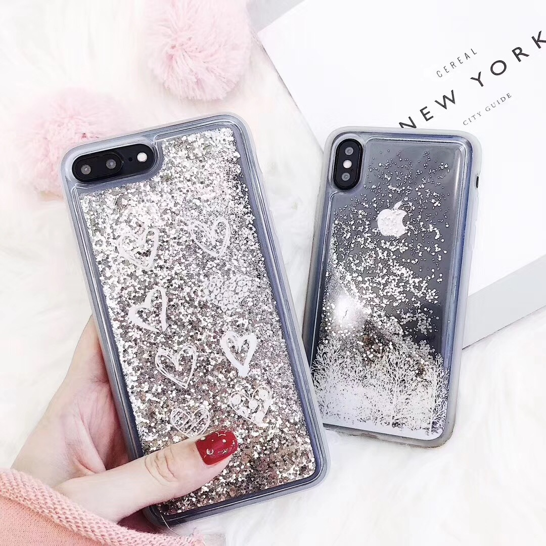 Apple x mobile phone shell snow drifting small love iphone8plus all-inclusive transparent soft cover 7P creative 6S female models