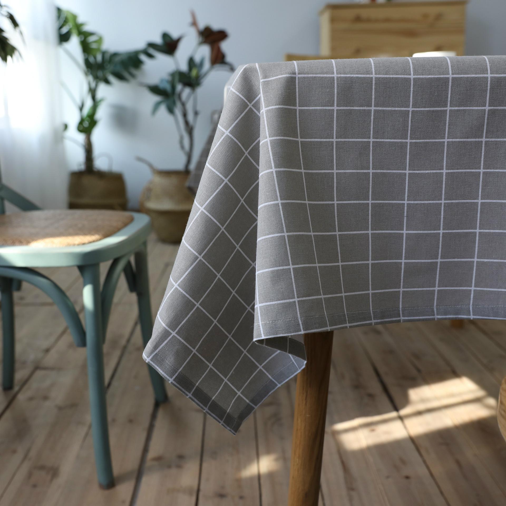 灰色格子棉麻文艺格子桌布布艺灰色台布小清新长方形现代简约