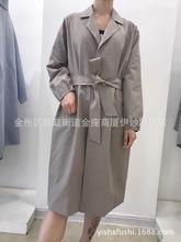 韩国原单风衣西服领长款系腰带袖子四合扣装饰女款外套