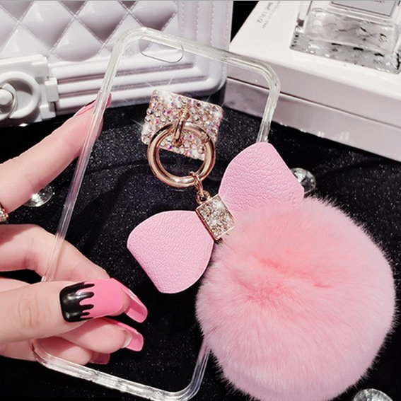 Apple X bow hair ball iphone8 protective cover I6p/r9s/r11s/x20 rhinestone acrylic soft edge tide