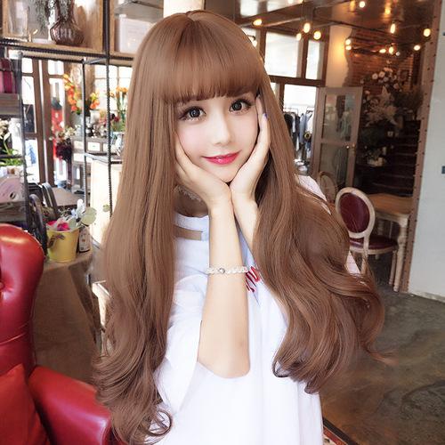 Rose net wig female long curly hair air bangs corn perm long hair human long curly wig full headgear