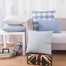 现代简约棉麻清新客厅浅蓝格子腰枕地中海靠垫抱沙发床头枕靠枕