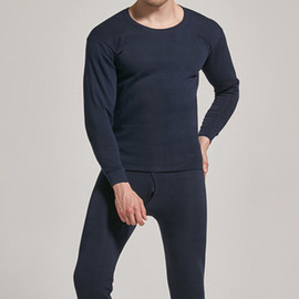 Add fertilizer to increase men's cotton autumn clothing long trousers suit large size loose men's thermal underwear round neck fat underwear