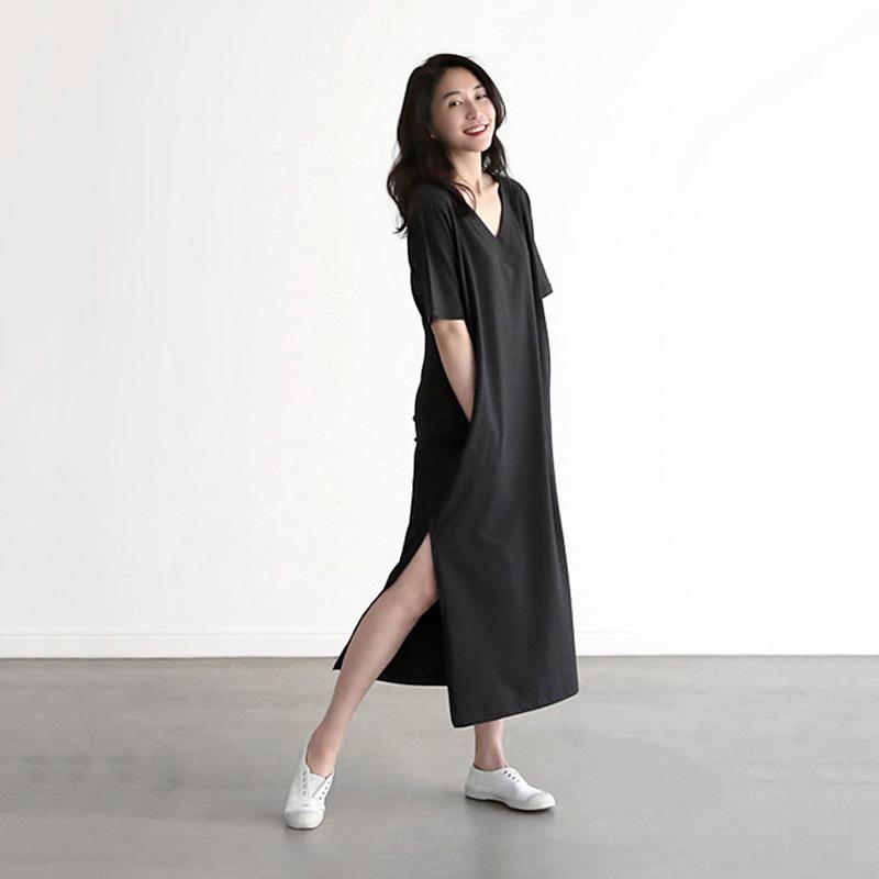 2018韩版春夏新款女装V领短袖纯棉大码连衣裙 宽松休闲开叉长裙