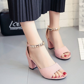 Sandals women's spring new European and American scrub fish mouth thick with open toe versatile high heels women's sandals