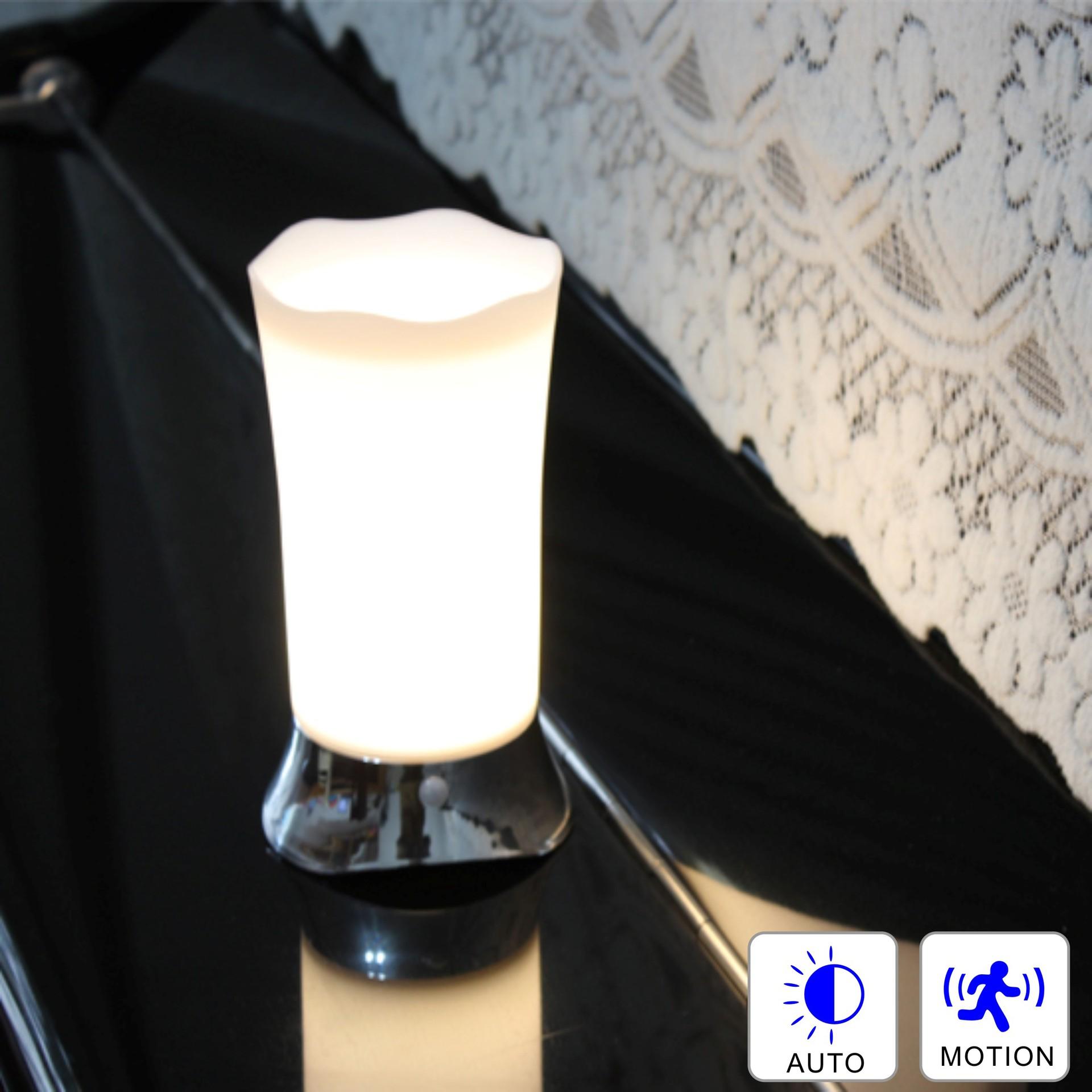 花边形人体感应台式小夜灯木纹喷漆银色亚马逊ebay跨境平台热销