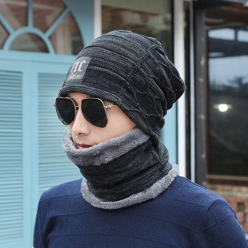 帽子男冬天韩版男士针织帽加绒加厚毛线帽秋冬套头帽子冬季保暖帽