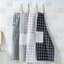 厨房棉麻围裙 防油加厚围腰 做饭护衣 韩版时尚简约成人罩衣女