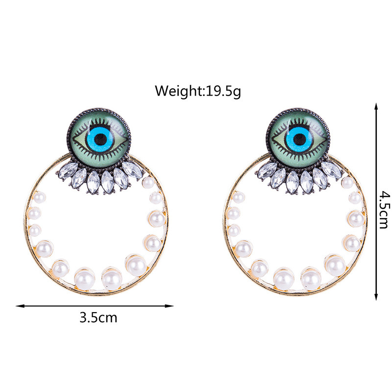 Fashion Alloy Inlaid with beads rhinestone Earrings Geometric (Alloy)  NHYT0793-Alloy