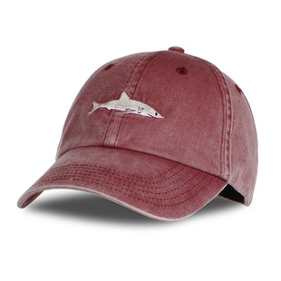Rebate offer AliExpress overseas one-piece delivery popular cartoon washed embroidered shark baseball cap hat