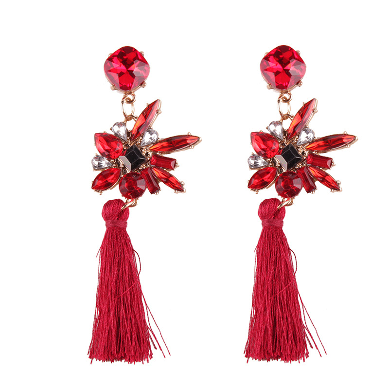 Fashion Cloth  earring Flowers (red)  NHJQ9716-red
