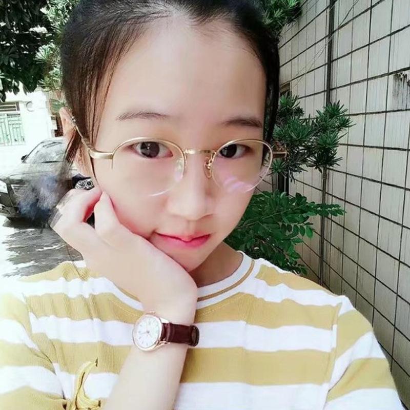 复古半框圆形眼镜架女近视眼镜框时尚平光百搭眼镜学院风韩版眼镜