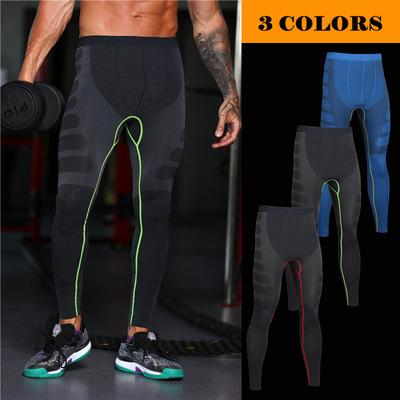 新款男士肌肉组织无缝轻压舒适透气速干跑步压缩裤紧身运动裤MA05
