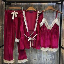厂家批发居家服女士秋冬款新品金丝绒三件套家居服睡衣长袖长裤