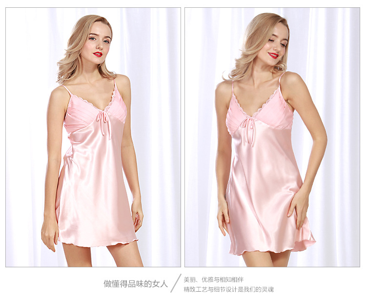 silk nightdress summer lady summer home service sexy suspenders pajamas wholesale nihaojewelry NHJO221782