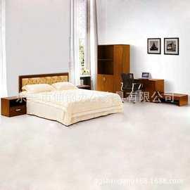 板式床 现代快捷酒店宾馆套房公寓周边标配 东莞办公家具可定制