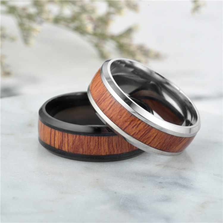 Titanium&Stainless Steel Fashion Geometric Ring  (8MM steel color-6) NHTP0032-8MM-steel-color-6