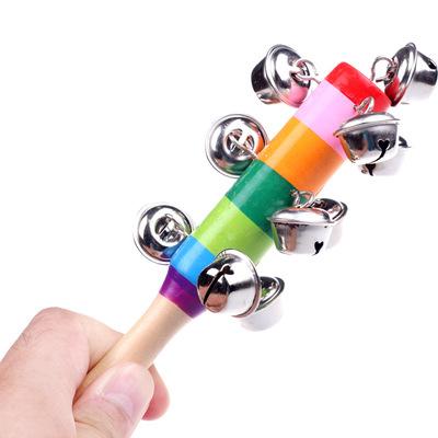 混批木质彩虹七彩摇铃一字铃铛儿童婴幼儿宝宝早教玩具木制手抓铃