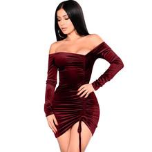 2019亚马逊新款丝绒连衣裙不规则抽绳长袖性感夜店一字领短裙现货