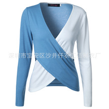 Spring and Autumn Women's New Products Featured V-neck color matching sexy sleeve long-sleeved T-shirt shirt female