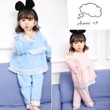 兒童法蘭絨睡衣套裝 2017秋冬女童韓版蕾絲花邊加絨家居服兩件套