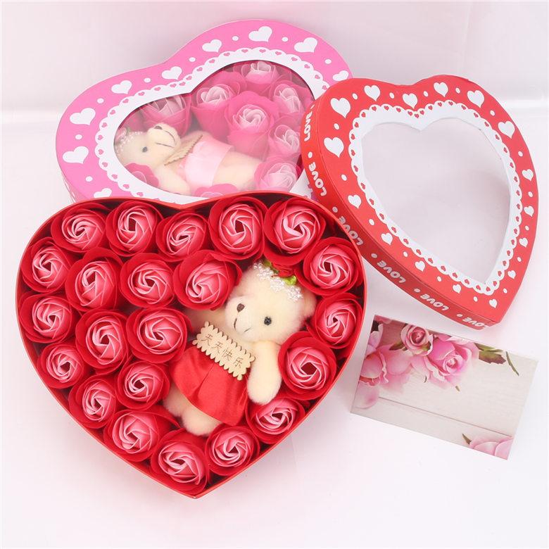 批发玫瑰香皂花礼盒心形礼盒小熊花情人节圣诞节礼物送客户礼品