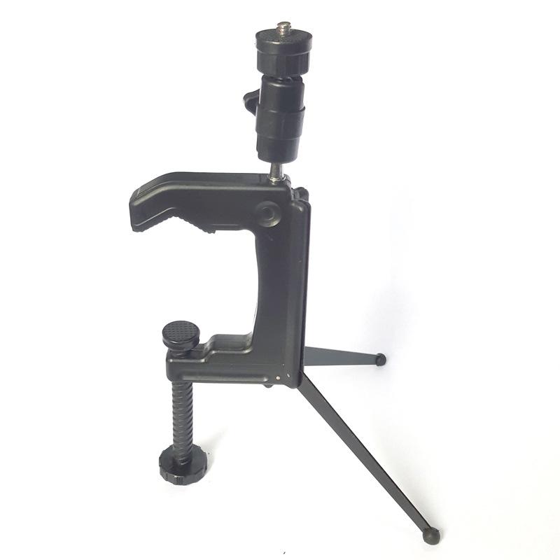 TR-191钳式三脚架 迷你桌面相机摄影黑色手机三角架主播自拍神器