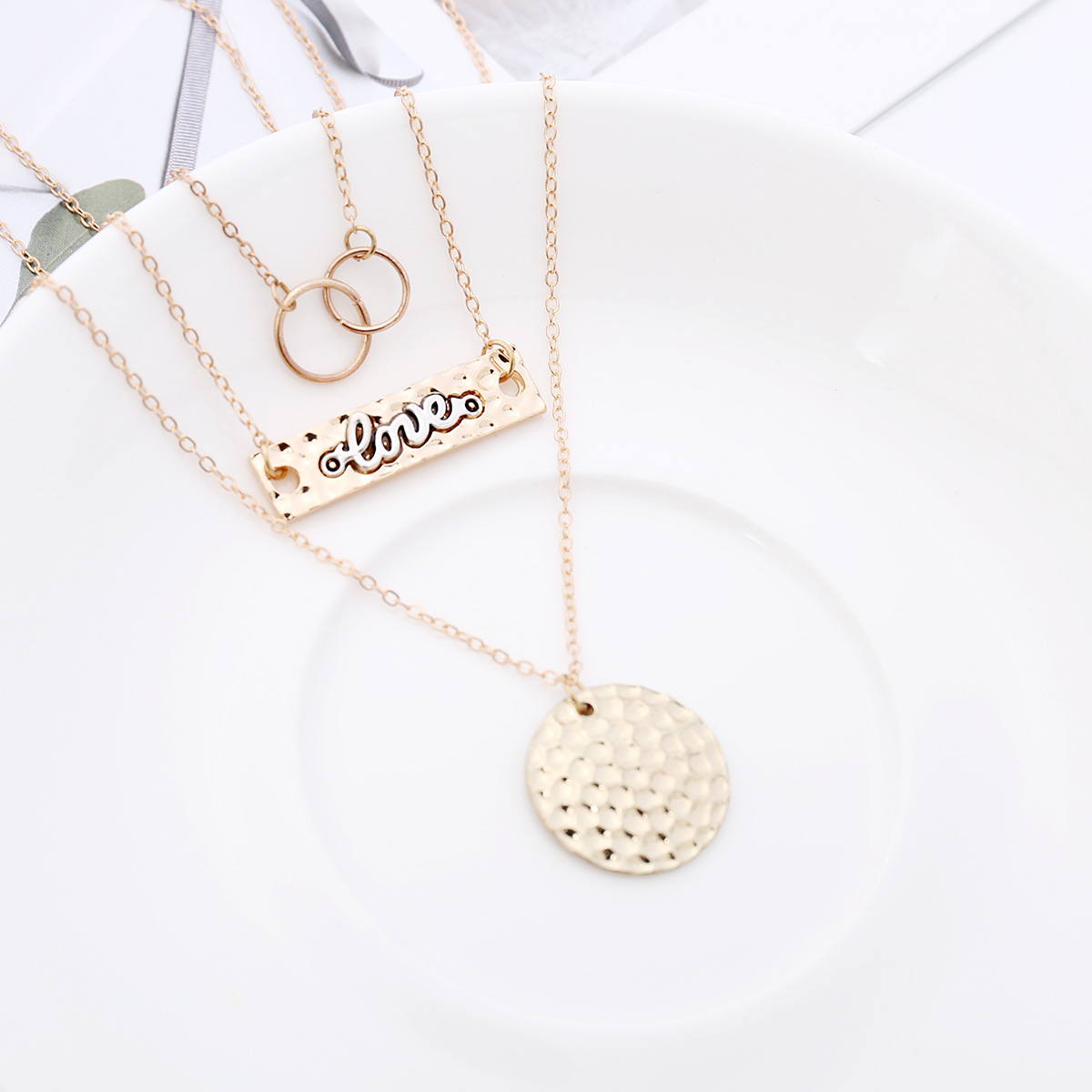 Retro exaggerated multi-layer item with metal ID letter LOVE alloy pendant clavicle necklace NHXR201306