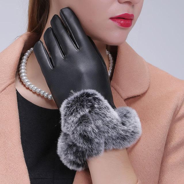 厂家直销女士仿獭兔毛U型毛口秋冬季触屏手套PU真皮保暖手套