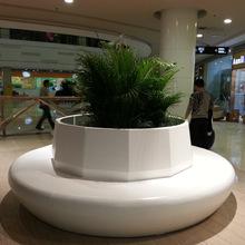 商场大型圆柱形玻璃钢花盆休闲椅商业街创意美陈玻璃钢坐凳家具