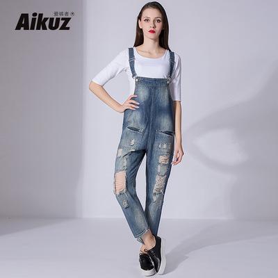厂家直销时尚新款欧美品牌加大码吊带长裤破洞宽松直筒女式背带裤
