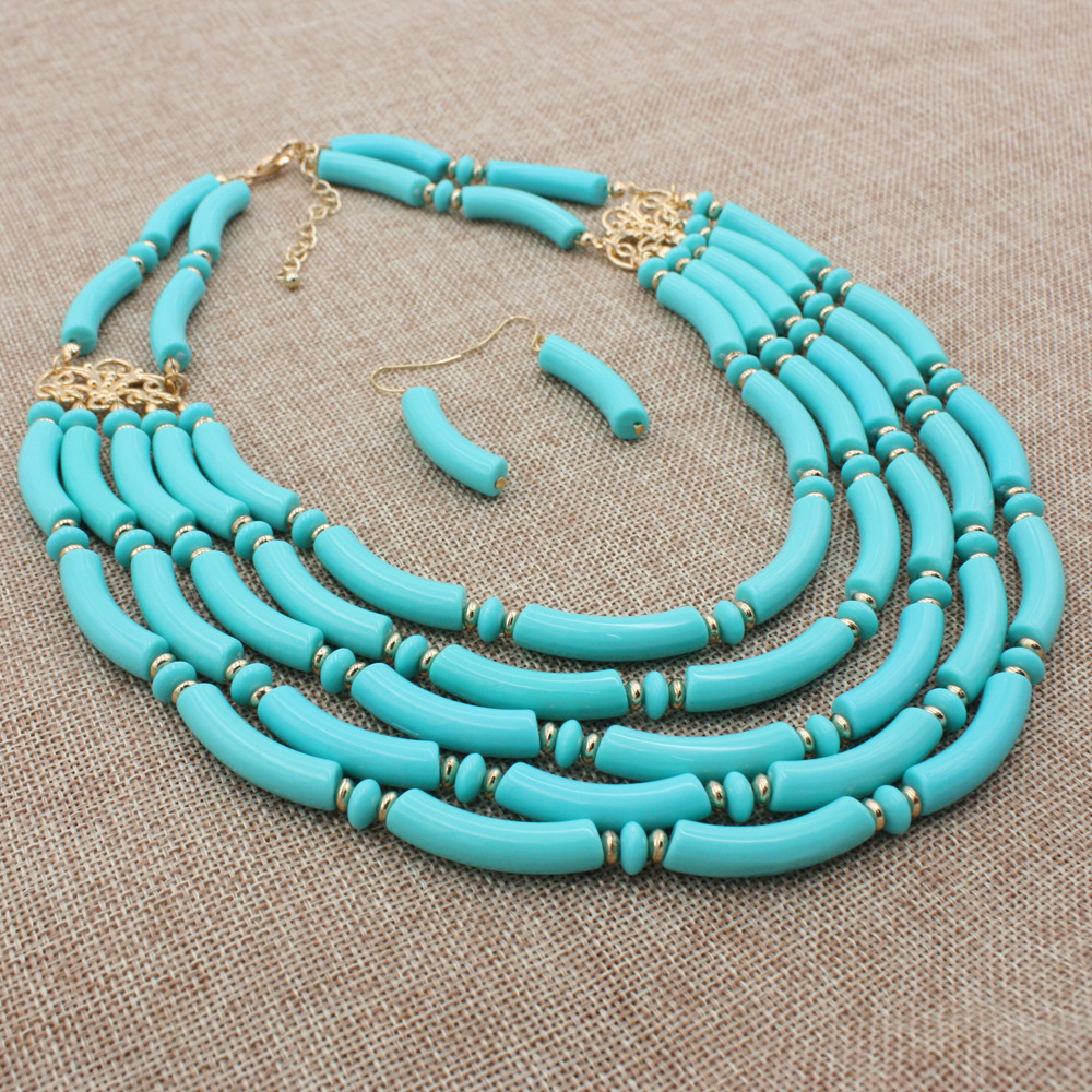 Occident and the United States Resinnecklace (Lake Blue)NHCT0136-Lake Blue