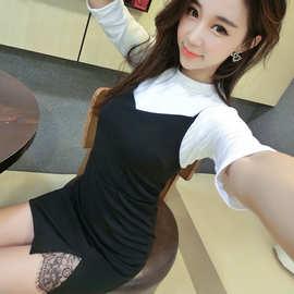 秋冬新款修身气质两件套名媛五分袖白T配黑色吊带连衣裙套装