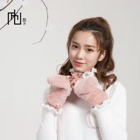 Япония новый товар новинка мех кролика Кашемировая шея механизм камеры женский перчатки двухслойный утепленный удерживающий тепло женский варежки пакет Это относится к женщине перчатки