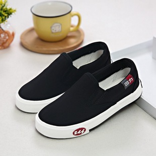 2020 new pull back children's shoes canvas shoes children's sports shoes boys and girls student shoes cover lazy sneakers