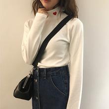 實拍2020春季新款女裝刺繡愛心小高領打底衫彈力保暖T恤 女士