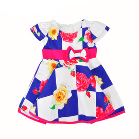 Girls' dress Children's Summer short-sleeved Butterfly Lord's skirt Flower Lattice printed dress skirt Children's skirt