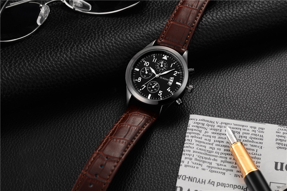 Leather with quartz waterproof multifunctional calendar business watch NHSY186741