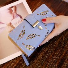 2020新款韓版女士錢包長款時尚手拿包鏤空樹葉拉鏈搭扣錢包女包包