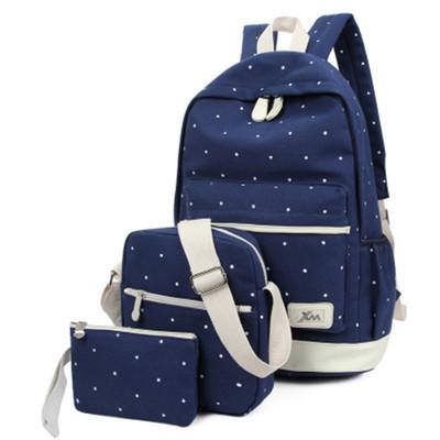 厂家批发 三件套女双肩包韩版学院风纯棉帆布背包旅行包学生书包