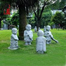 石雕小沙弥雕塑 寺庙园林摆放 花岗岩石雕小和尚 可定做