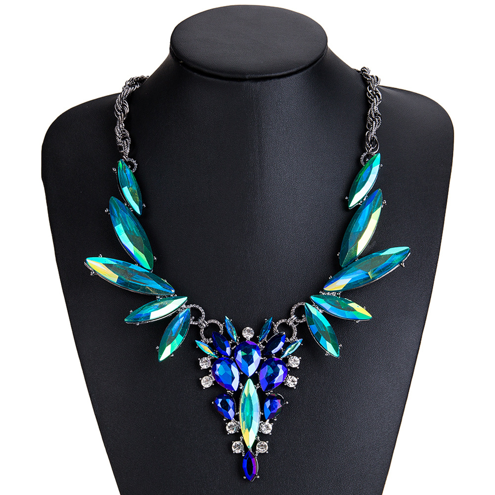 Fashion Alloy Diamond necklace Flowers (Green blue)NHJE0777-Green blue
