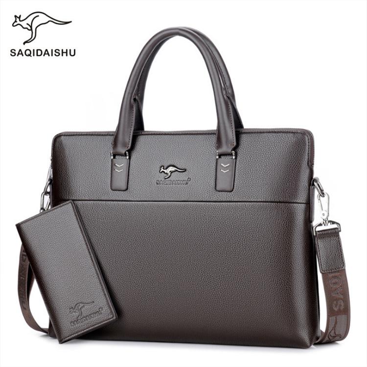 厂家直销萨奇袋鼠男士手提包大容量休闲商务公文包横款单肩斜跨包