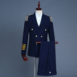 men's jazz dance suit blazers Male captain suit double suit with tassel shoulder badge for military exercise