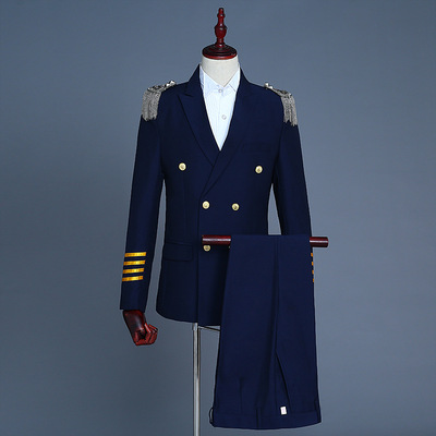 men's jazz dance suit blazers Male captain suit double suit with tassel shoulder badge for military exercise