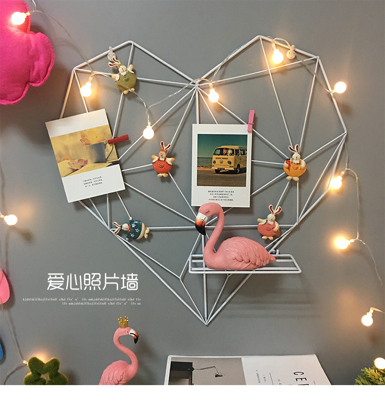 heart shaped rack for hanging photos and fairy lights